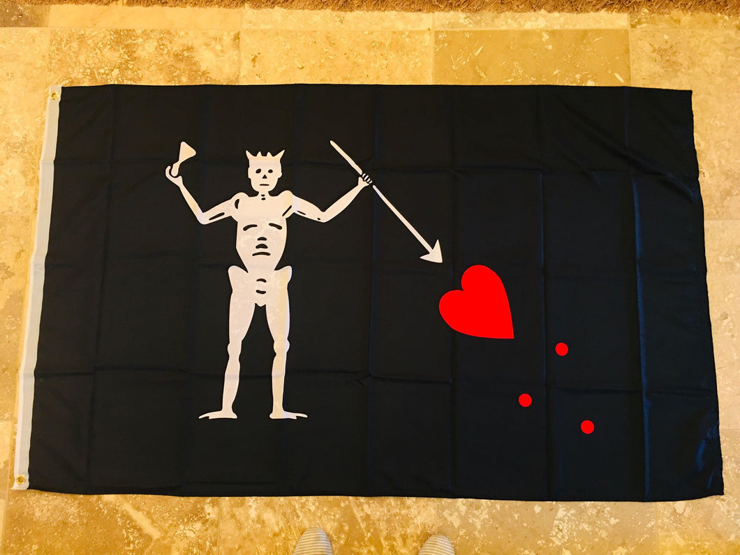 PIRATE JOLLY ROGER BLACKBEARD FLAG 3X5 ROUGH TEX 100D
