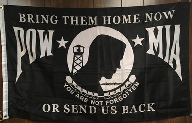 100D BRING THEM HOME OR SEND US BACK POW MIA FLAG FLAG 3X5 ROUGH TEX