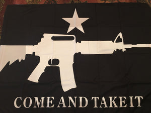 COME AND TAKE IT M4 BLACK FLAG 3X5 ROUGH TEX 100D