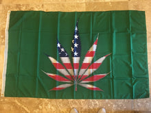 GREEN AMERICAN MARIJUANA LEAF ORGANIC FLAG 3X5 100D  ROUGH TEX