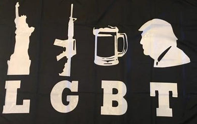 TRUMP LGBT LIBERTY GUNS BEER TRUMP CAMPAIGN FLAG 3X5 ROUGH TEX 100D