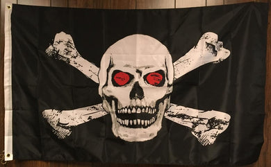 PIRATE JOLLY ROGER SKULL & BONES RED EYES FLAG 3X5 ROUGH TEX 100D