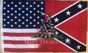 REBEL AMERICAN DON'T TREAD ON ME (GADSDEN) FLAG 3'X5' 100D ROUGH TEX
