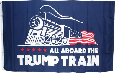 Trump All Aboard the Trump Train Blue 2020 3'X5' Rough Tex ® Flag 100D