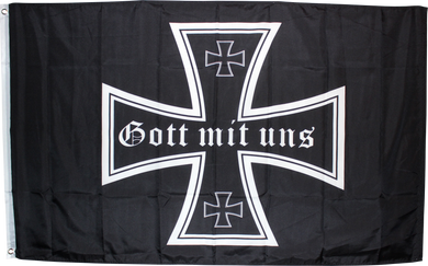 100D RT Flag - 3x5 MIT UNS (God With Us) Iron Cross