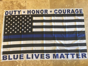 DUTY HONOR COURAGE BLUE LIVES MATTER USA AMERICAN POLICE MEMORIAL  3X5 ROUGH TEX 100D