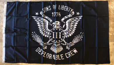 Sons of Liberty Deplorable Crew III% Black Tactical 3'x5' Rough Tex ® 100D Flags 1776