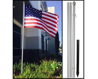 10' Ten Foot Silver Aluminum Flag Pole Kit (Flag Not Included