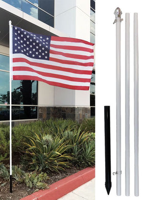 10' Ten Foot White Aluminum Flag Pole Kit (Flag Not Included)