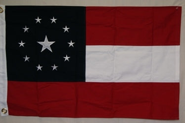 1ST NATIONAL 3'X5' 11 STAR STARS & BARS COTTON EMBROIDERED & SEWN