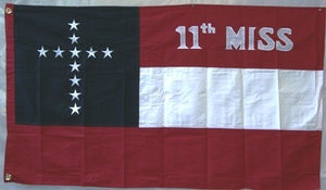 3'X5' 11TH MISSISSIPPI CS NAVY JACK STARS & BARS 1ST NATIONAL EMBROIDERED & SEWN