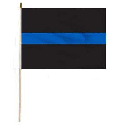 THIN BLUE LINE 4X6 INCH STICK FLAGS POLICE