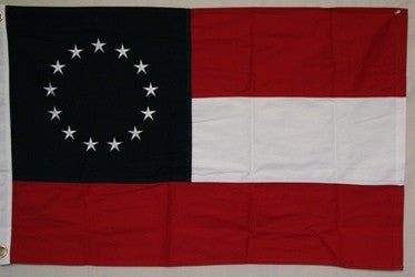 1st National CSA 13 Star 3'x5' Cotton Stars & Bars