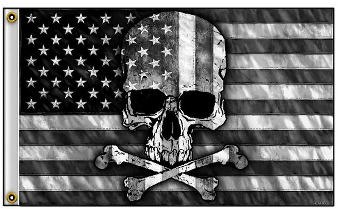 US PIRATE American Skull N Bones Black Grey USA 3'X5' Flag Rough Tex® 100D