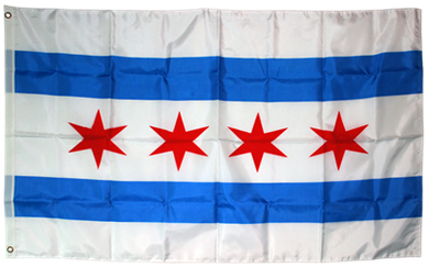 City of Chicago 3x5ft Nylon 150D Flag