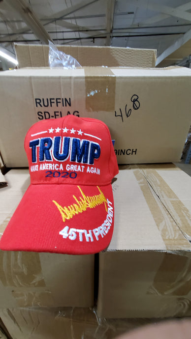 Red Trump 2020 (M A G A) 45th President Make America Great Hat Gold Signature Cap - Original Trump Hat