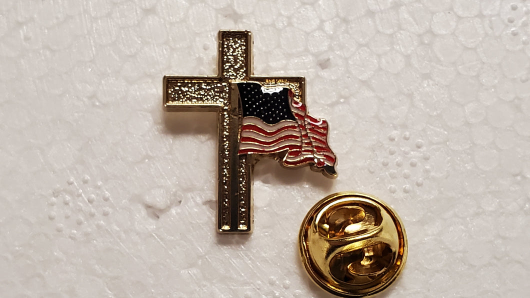 USA Flag Gold Cross Extra Small (1.9 cm X 2.22 cm) Cloisonné Hat & Lapel Pin