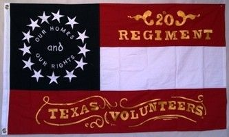 3'X5' 20TH TEXAS REGIMENT CSA COTTON EMBROIDERED & SEWN 1ST NATIONAL FLAG STARS & BARS