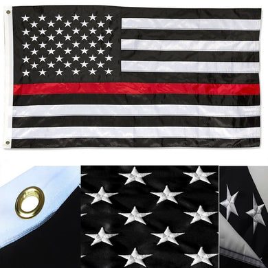 USA FIRE MEMORIAL 3'X5' EMBROIDERED 210D NYLON FLAG US LAW ENFORCEMENT red line