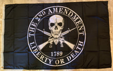 2nd Amendment Liberty or Death Flag With Skull Single Side Rough Tex® 100D 3'X5'