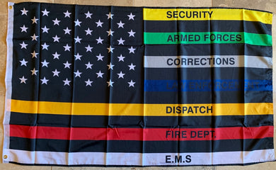 AMERICAN SERVICE USA MEMORIAL Flag - 3'X5' Rough Tex® 150D ALL LAW FIRE POLICE CORRECTIONS EMS SECURITY  ENFORCEMENT BRANCHES MILITARY DNR