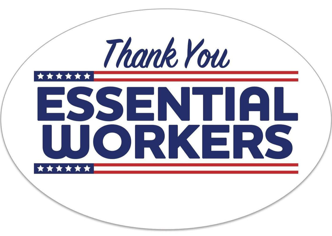 Thankyou Essential Workers Bumper Sticker