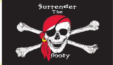 *TEMPORARILY OUT OF STOCK*  2'X3' 100D PIRATE SURRENDER THE BOOTY RED BANDANNA FLAG