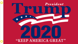2'X3' 100D PRESIDENT TRUMP RED 2020 FLAG DBL SIDED