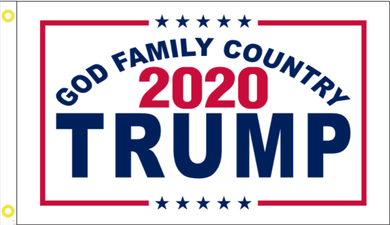 2'X3' 100D TRUMP GOD FAMILY COUNTRY FLAG