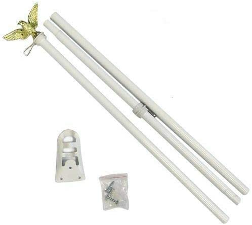 6' Foot White Aluminum Flag Pole Set With Gold Eagle Decoration