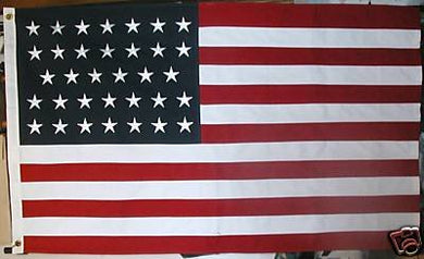 USA 34 STAR EMBROIDERED STARS SEWN STRIPES COTTON FLAG 3'X5'