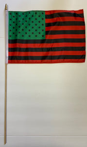 "*TEMPORARILY OUT OF STOCK*  12 Afro American 12""X18"" Stick Flags  - Rough Tex® 100D"