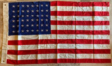 Vintage 48 Star USA American Flag 3'X5 Cotton Embroidered Stars Sewn Stripes