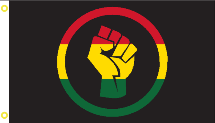Black Lives Matter Rasta Fist 2'X3' Single Sided Flag Rough Tex® 100D