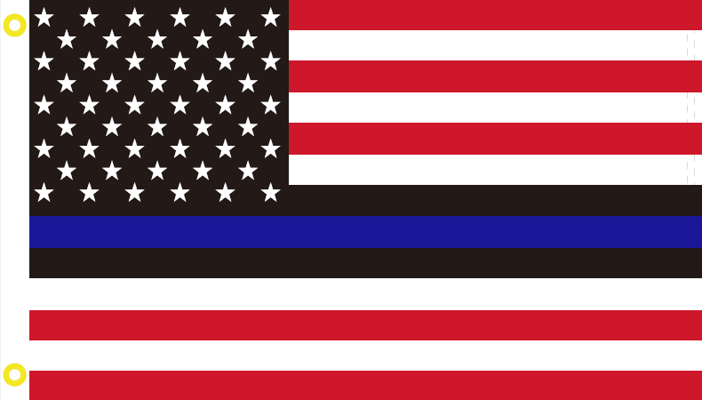 3'X5' USA RWB WITH BLACK LINES MEMORIAL AMERICAN POLICE FLAG 100D ROUGH TEX ®