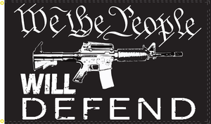 3'x5' 100D WE THE PEOPLE WILL DEFEND M4 FLAG