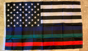 USA MEMORIAL OFFICIAL SERVICE SUPPORTERS FLAG (POLICE, MILITARY & FIRE RESCUE) FLAG THIN BLUE GREEN RED LINE AMERICAN FLAG 3X5 150D ROUGH TEX ® NYLON