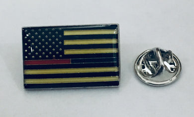 USA Thin Blue And Red Line Police And Firefighters-  Cloisonne Hat & Lapel Pin