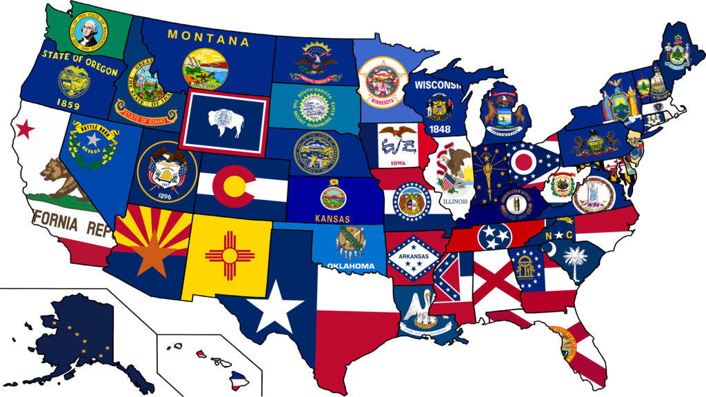 U.S. STATE FLAGS 3'X5' ECONOMICAL SOLD BY THE DOZEN WHOLESALE ALL 50 AMERICAN STATES
