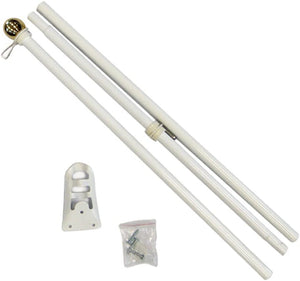 6' Foot White Steel Flag Pole Set With Gold Ball Decoration