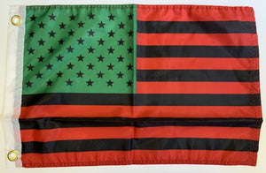 Afro American USA Double Sided Car Flag - 12''X18'' 68D