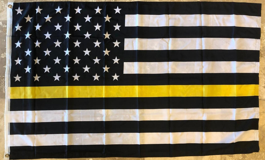 USA Memorial Thin Yellow Line Tow Operators, Tow Truck Drivers, Security Guards, Loss Prevention 3'X5' 100D Flag Rough Tex ®
