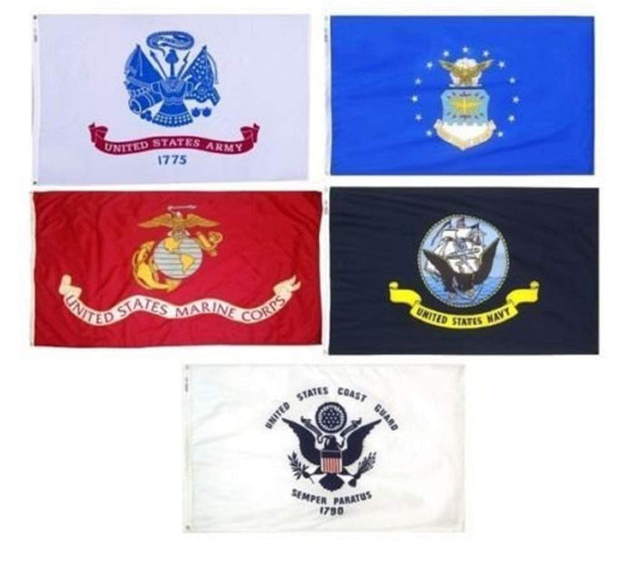 ARMED FORCES US MILITARY EMBROIDERED DOUBLE SIDED 3'X5' FLAGS ARMY MARINES NAVY AIR FORCE COAST GUARD POW