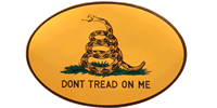 Gadsden Oval Bumper Sticker - Yellow Small