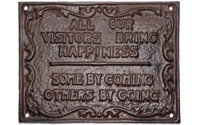 Visitors Sign Cast iron