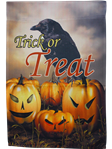 Trick or Treat Raven and Jack'O'Lanterns Garden Flag