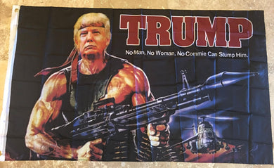 TRUMP BAZOOKA NO MAN NO COMMIE 68D NYLON 3'X5' MAGA