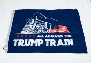 All Aboard The Trump Train Blue Double Sided Flag - 12''x18'' Rough Tex®