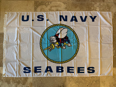 US Navy Seabees (White Seabees) Flag 100D  3x5