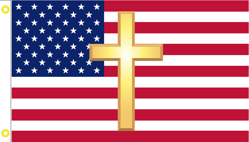AMERICAN CHRISTIAN CROSS GOLD OFFICIAL FLAG 3X5 USA
